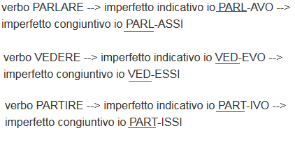 how to form the subjunctive imperfect in Italian