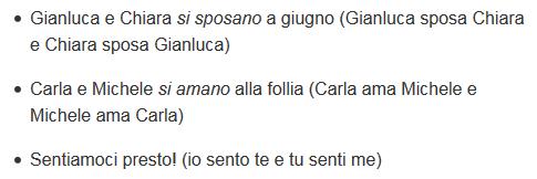 reciprocal verbs in Italian, example